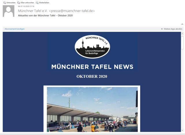 Münchner Tafel Newsletter